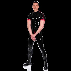 Contrast Shoulder Zip Catsuit (Short Sleeves)