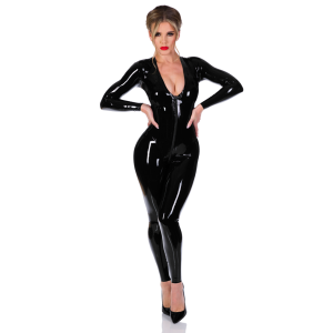 V-Neck Catsuit No Feet-Front Zip