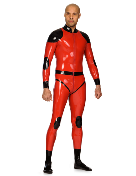 Rubber Patch Catsuit for Men